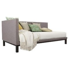 Chaise grey daybed upholstered twin sofa lounge bedroom living guest room nailhead item description item 17603238 built with a sturdy metal frame, this versatile twin-size daybed offers extra seatin Mid Century Modern Daybed, Daybed Room, Upholstered Daybed, Extra Seating, Mid Century Design, Decoration, 5 D, Guest Room, Decor Styles