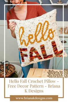 Let's do it y'all! Bust out those boots, light those fall candle scents, mix up everything pumpkin, and get in the fall mood. It's a beautiful season to relax and do a bit of crochet. So why not create a new home decor piece with this Hello Fall Crochet Pillow. #fall #pillow #crochet Crochet Designs, Crochet Patterns, Fall Candles, Crochet Pillow, Hello Autumn, Yarn Needle, Slip Stitch, Cozy Sweaters, Holiday Crafts