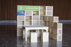 Sustainable Stand design. Crates. Exhibition booth