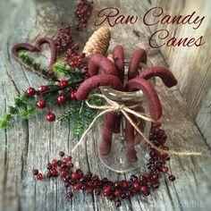 Raw Peppermint Candy Canes... Made with healthy ingredients that will make any mom proud to serve them to her kiddos!