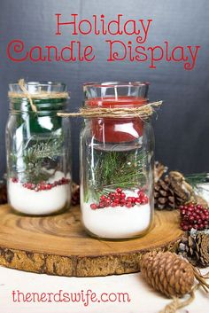 DIY Christmas Mason Jar Candle Holder using Epsom Salt, Pine Sprigs, and Cranberries #SmellsClean