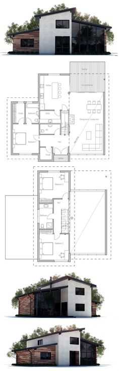 W2927A - 1 bedroom chalet with great room and mezzanine Garage - Plan Architecture Maison 100m2