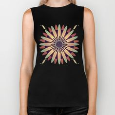 A graphic mixed-media retro floral design in the colors teal green, orange and yellow.
