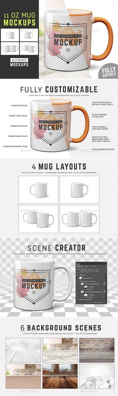 11 oz Mug Mockup Templates - Food and Drink Packaging