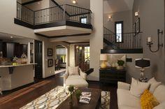 Regency Homebuilders : Open Concept Living, Neutral, Grey, Black Trim, Area Rug, Yellow, Hand Scraped Wood Floors, Built In, Corner Fireplace {Walker Farms Subdivision - Emmerson Plan}