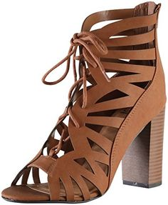 Delicious by Soda Womens Detour Cut Out Caged Peep Toe Chunky Stacked Heel Sandal 9 BM US Tan *** You can get more details by clicking on the image.
