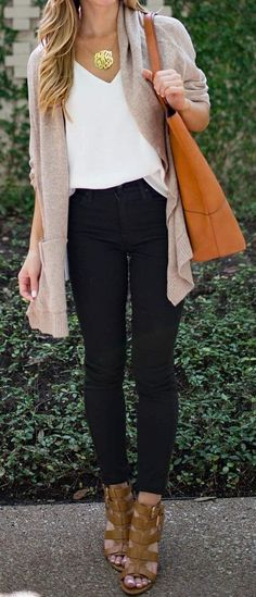 Beige Cardigan // White Top // Black Skinny Jeans // Sandals                                                                             Source