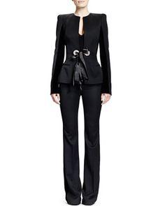 Alexander McQueen Wool Velvet-Insert Ribbon-Detail Jacket, Sweetheart-Neck Tank Bodysuit & Wool Ribbon-Detail High-Waist Pants