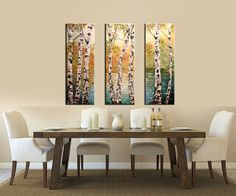 IMPORTANT NOTE: I will be on my vacation from Oct.24 to Oct.31. Paintings will be available for shipping from Nov.1 and I will reply to all messages when I come back.    Thank you!      Silver Birches    3 panels of Original abstract modern textured large triptych painting.Palette Knife.Impasto.Landscape.Birch Tree,Lake Painting.Fine art.  New and in excellent condition. Directly from my studio.    size: 36 x 36 x 0.75 (3 canvas 36 x 12)    ++++This painting can also be reproduced as a…