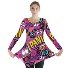 UPTO #PLUSSIZE 30 - #TUNIC  #Panic Pattern Long Sleeve Tunic  by Jojostore BRILLIANT - COWCOW.COM