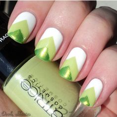 "metallic green, light green, white chevron/triangle ""gradient"" nail art #manicure #nails. Maybe different colors...."