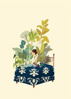 David De Las heras | Illustrator | Central Illustration Agency  #david #delasheras #illustration #painterly #painting #acrylic #oil #gouache #plants #bed #boy #man #conceptual #detail#decorative