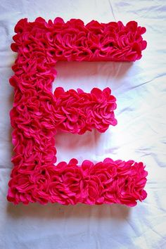 "Wool Flower Monogram Letter E..be cute to make one for ""sweet 16"" or ""L"""