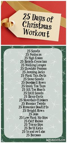 25 Days of Christmas Workout 25 Days Of Christmas, Fun Workouts, Meals, Fitness, Power Supply Meals, Gymnastics, Meal, Food, Health Fitness