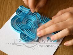 Quilled Blue Swirls - Paper Graphic Tangles