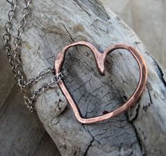 #necklace #copper #jewelry Rustic Heart Necklace Pure Copper Sterling by ArtandSoulJewelry, $35.00
