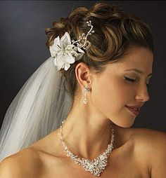 Beaded Flowers To Hold The Veil In Place~ Hair Flowers: La Bella Bridal Accessories