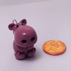 Cute Polymer Clay Hippo Figurine, Sculpted Kawaii Anima Hippopotamus Hippopotamus, Purple Polymer Clay Mini Charm on Keychain, Handmade by LittleHeartsStore on Etsy https://www.etsy.com/listing/214431043/cute-polymer-clay-hippo-figurine