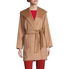 Max Mara Rialto Short Camel Hair Coat ($2,600) ❤ liked on Polyvore featuring outerwear, coats, apparel & accessories, camel, camel coat, long sleeve coat, camel hair coat, camel wool coat and fur-lined coats