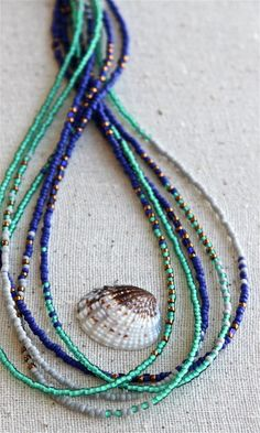 Multi Strand Seed Beaded Necklace. Mint Green and Cobalt Blue. Spring Pantone Colors. Adjustable Necklace. OOAK. Guinevere Necklace.