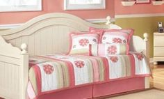 "The ""Cottage Retreat"" youth bedroom collection takes early American country design to create a fun and inviting cottage retreat perfect for any child& bedroom. Wood Daybed, Daybed With Trundle, Girls Trundle Bed, Daybed Bedding, Bedding Sets, Daybed Room, Kids Furniture, Bedroom Furniture, Furniture Stores"