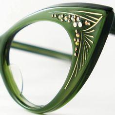 Cat Eye Glasses Green Vintage Eyeglasses by VintageEyeglassesCat, $160.00