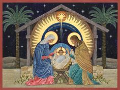 Beuronese Nativity: a Beuronese style icon by Nicholas Markell showing the Holy Family during the Nativity scene Religious Images, Religious Art, Boxed Christmas Cards, Christmas Nativity Scene, Catholic Art, Holy Family, Orthodox Icons, Sacred Art, Native Art