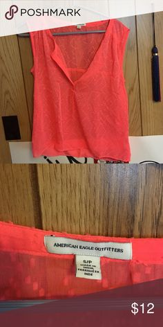 Orange American Eagle tank This is a very see through tank that looks extremely cute with a bralette or as a bathing suit cover up! American Eagle by Payless Tops Tank Tops