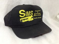 Sims Rigging Crane Service Trucker Hat Moultrie Georgia Black Snapback Cap #Youngan #TruckerHat