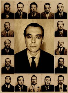 Photobooth portraits of Surrealist figures Photomontage by André Breton, 1928