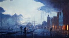 An oil painting of Bryggen, Bergen, in the rain. By Norway based New Zealand artist Nicholas O'Leary. Visit Norway, 2d Art, Bergen, Oil On Canvas, Animation, Fine Art, Landscape, Gallery, Drawings