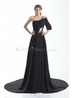 Chiffon Asymmetrical Neckline Chapel Train A-line Ruffle Prom Dress