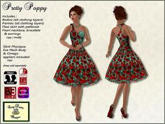 Pretty Poppy retro dress for Second Life