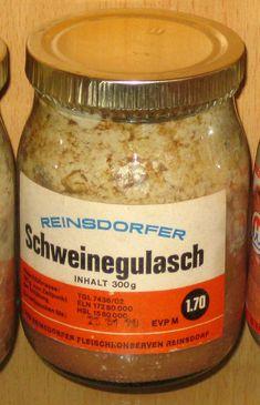 :: ORIG. DDR LEBENSMITTEL FLEISCH-KONSERVE SCHWEINEGULASCH 300 g EVP 1,70 M :: | eBay  (hatte mehr Fett, als Fleisch :-(