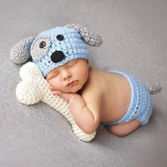 Cartoon Designs Newborn Baby Photography Props Crochet Dog Shape Hat+Briefs Set Costume Newborn Photo Props Outfits