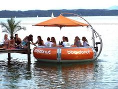 Floating Restaurant Tables - The BBQ-Donut is a floating party table. This invention is actually a boat with a very quiet, electric motor on board. It seats 10 people around a . Floating Restaurant, Restaurant Tables, Restaurant Ideas, Mobile Restaurant, Waterfront Restaurant, Restaurant Design, Jet Ski, Party Fotos, Party Barge