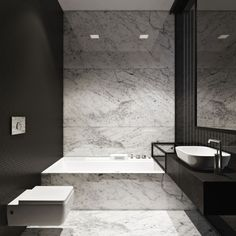 Townhouse by Igor Sirotov Architect - marble floor, tub, and accent wall paired with black walls and modern fixtures