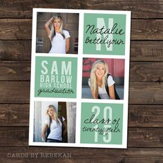 Items similar to High School Graduation Announcement in mint with 3 Photos on Etsy - graduation invitation Graduation Makeup, High School Graduation, Graduation Photos, Graduate School, Graduation Caps, Graduation Ideas, Graduation Announcements, Graduation Invitations, Senior Ads