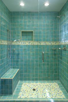 In this dual shower head design, the angled seat sits low on the ...