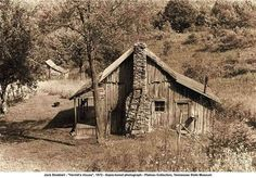 """I think it could be spruced up a little - very cozy.  """"Hermit's House"""", 1972, photo by Jack Stoddard, Tennessee State Museum"""
