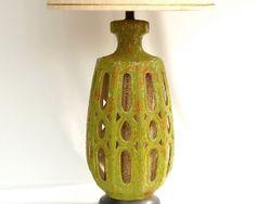 Mid Century Modern Ceramic Lamp  //  Avocado by ModLoungeVintage, $118.00