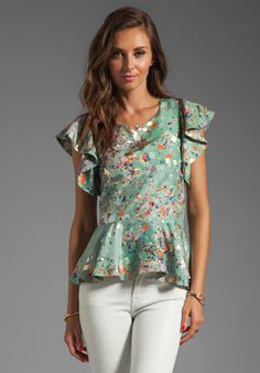 CYNTHIA ROWLEY Floral Ruffle Top in Mint