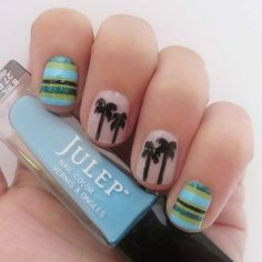 Beach nails - the stripes in this mani are too adorable!
