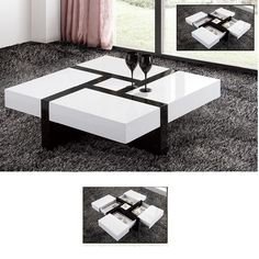Gentil Nova Extendable High Gloss Coffee Table In White With Storage