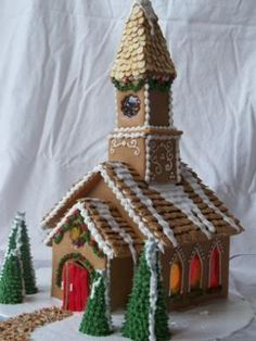 Gingerbread Church: What a joy it was to build this gingerbread church