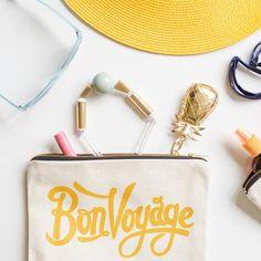 Pochette trousse BON VOYAGE par Alphabet bags - 100% coton - cadeau - Boutique La Rose Pourpre