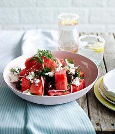 Watermelon, olive and feta salad recipe :: Gourmet Traveller