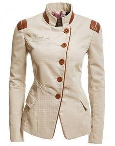 Danier : women : jackets & blazers : very nice Military Chic, Military Fashion, Military Jacket, Canvas Jacket, Blazers, Cool Style, My Style, Dress Codes, Leather Fashion