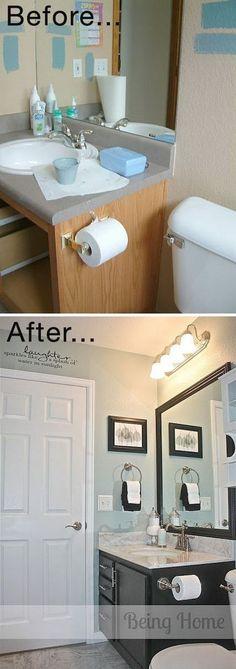 Tiny Bathroom Cheap Makeover. (Diy House Cheap)