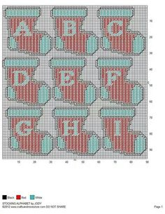 Plastic Canvas Stocking Alphabet 1/3